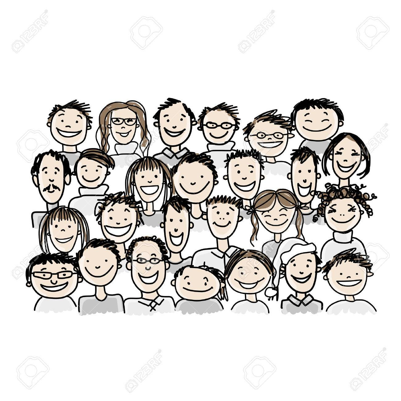 Group of people, sketch for your design Stock Vector - 37038340