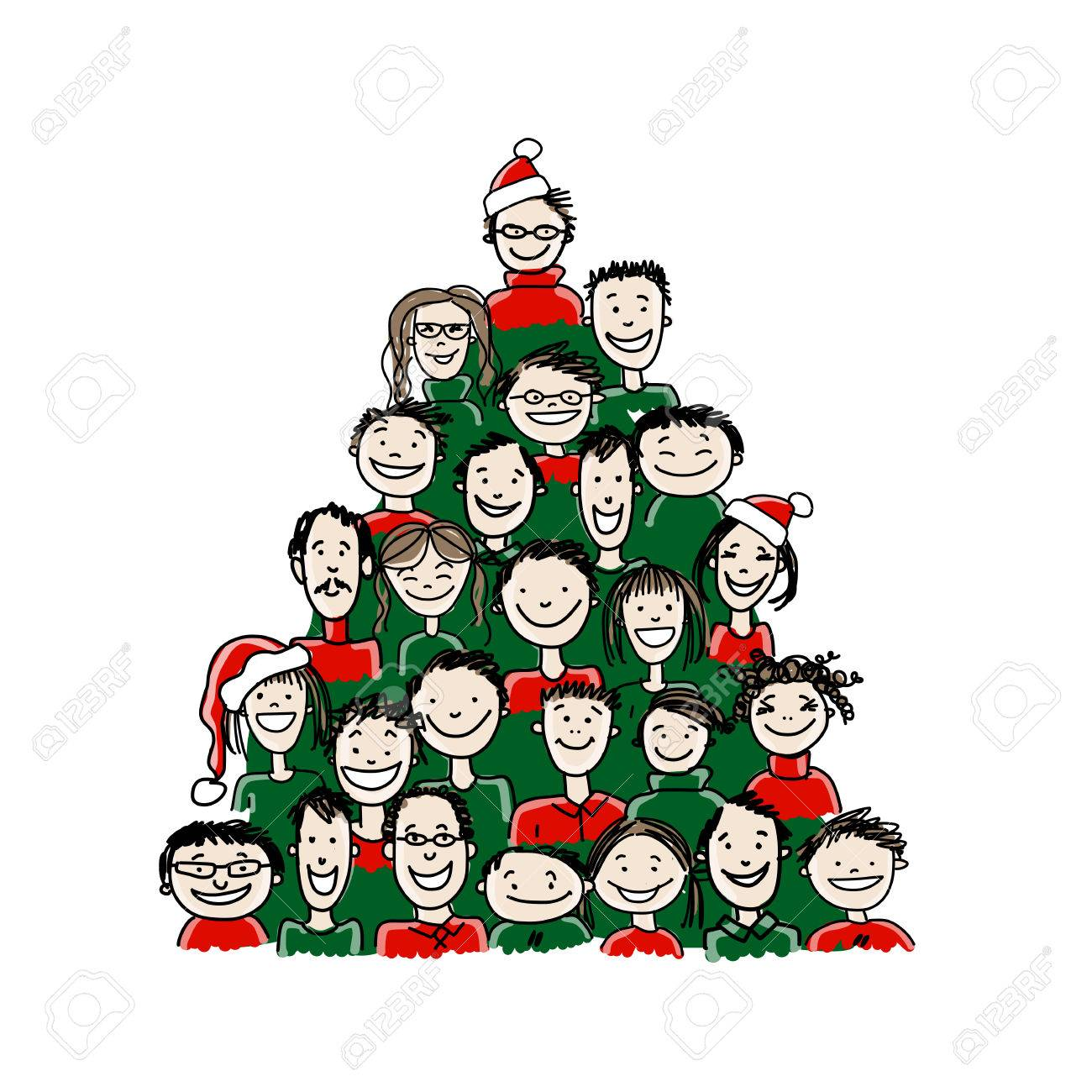 Christmas tree made from group of people for your design Stock Vector - 37038353