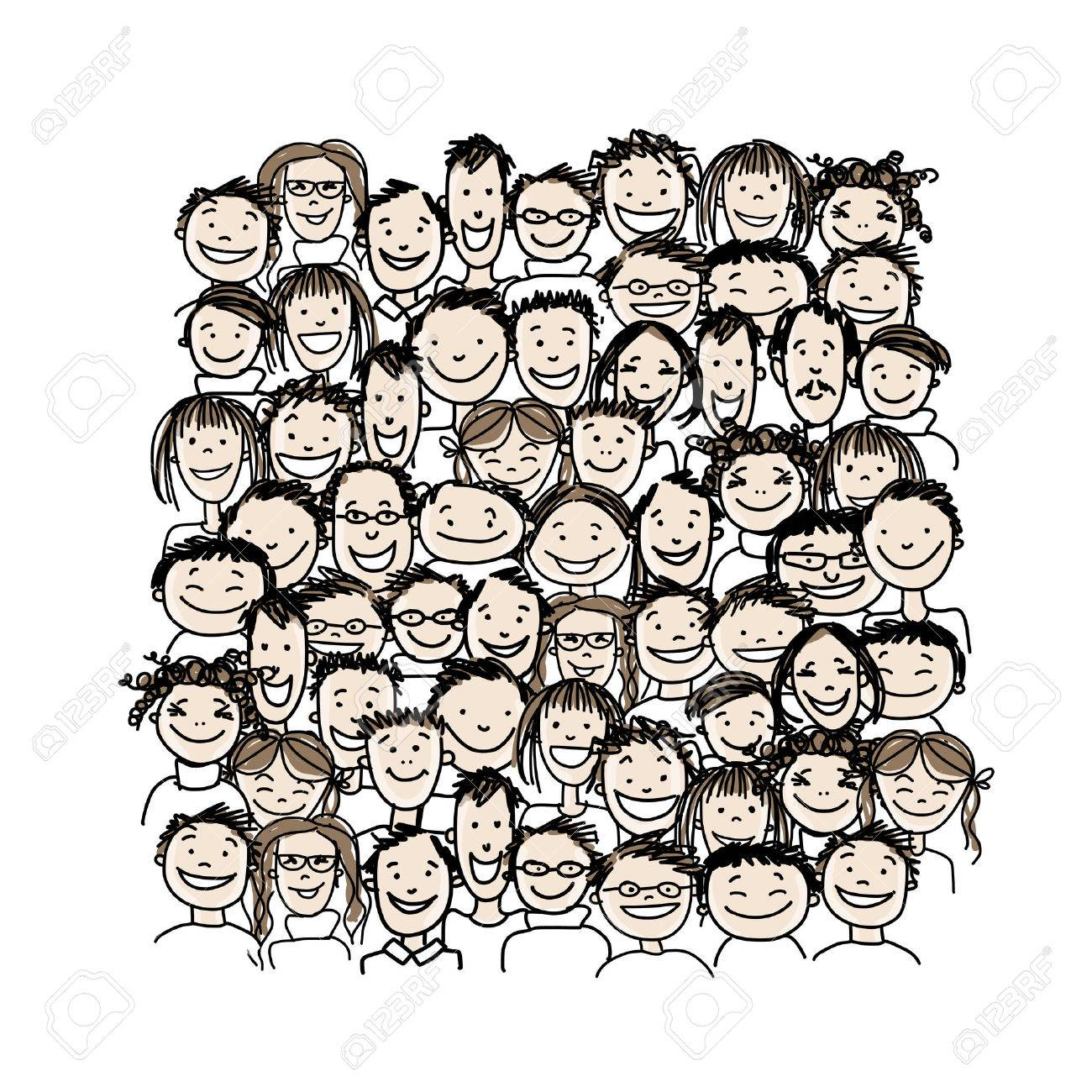 Group of people, sketch for your design Stock Vector - 37038361