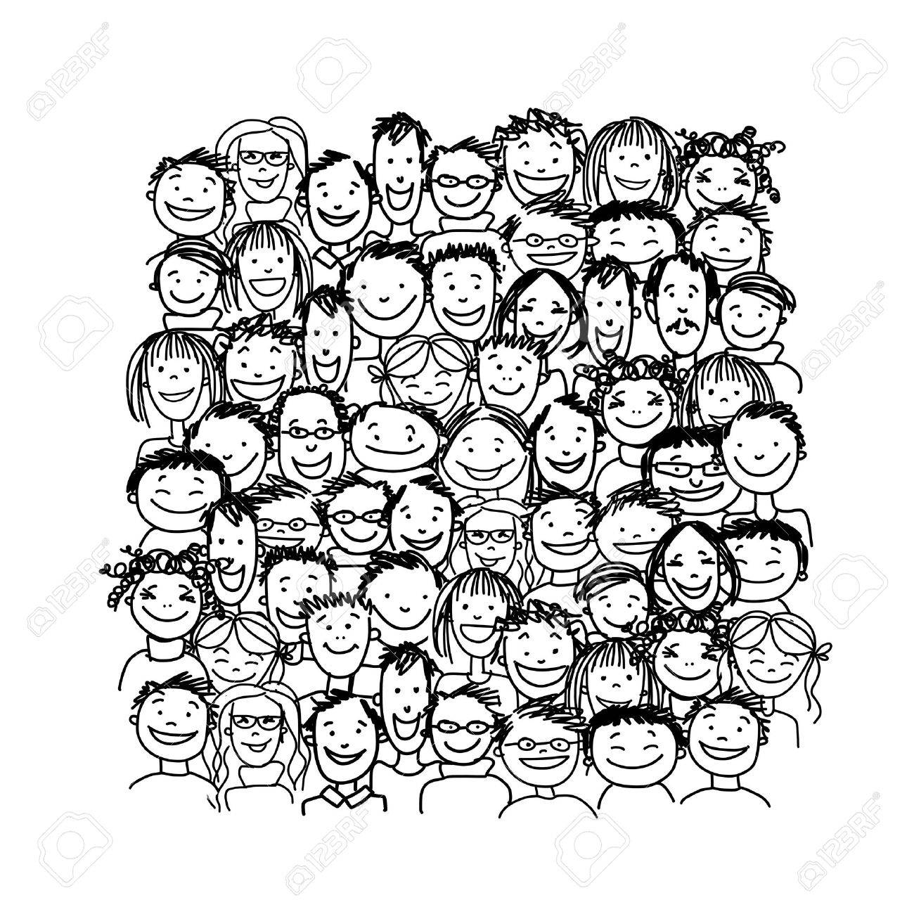 Group of people, sketch for your design Stock Vector - 37038363