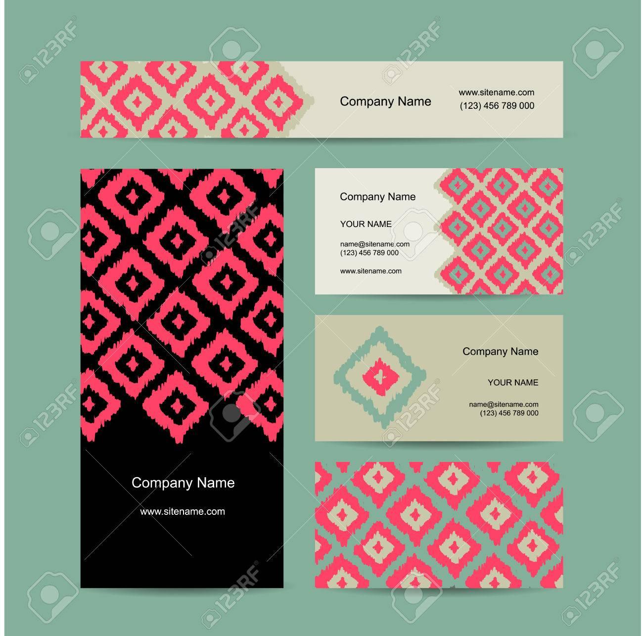 Cartes De Visite Conception Motif Gomtrique Tissu Clip Art