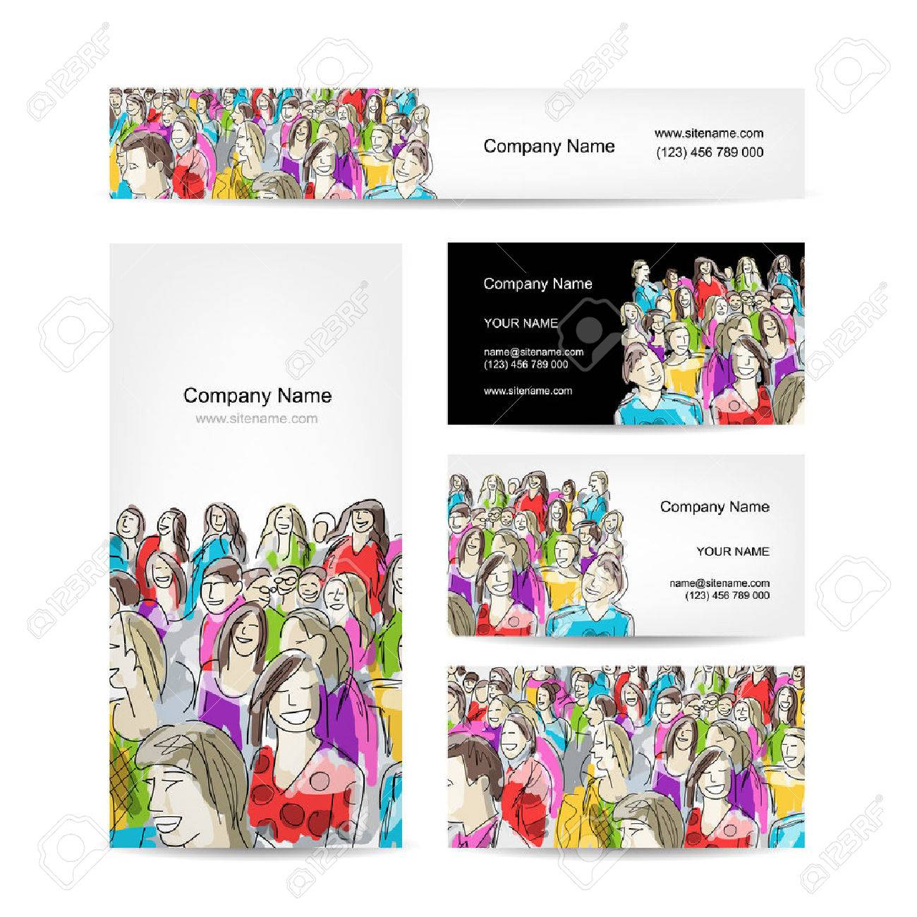 Business cards collection people crowd design royalty free cliparts business cards collection people crowd design stock vector 39381214 reheart Image collections