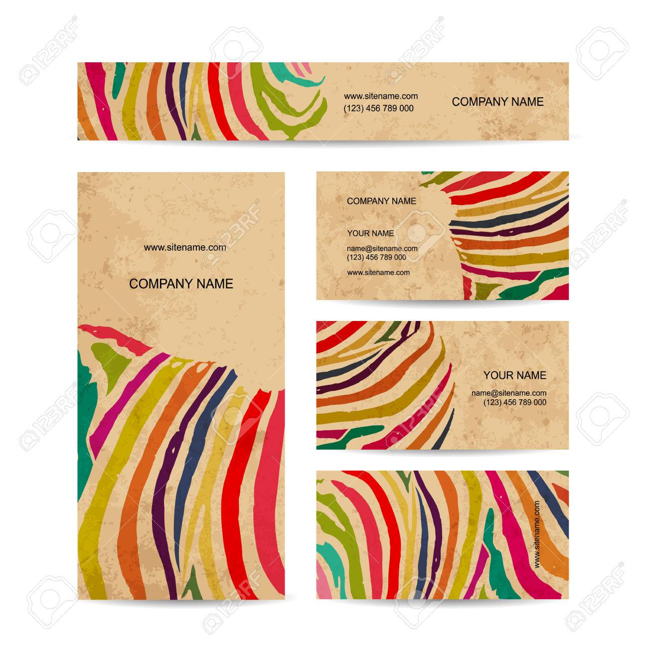 Set of business cards colorful zebra print design royalty free set of business cards colorful zebra print design stock vector 39557896 reheart Choice Image