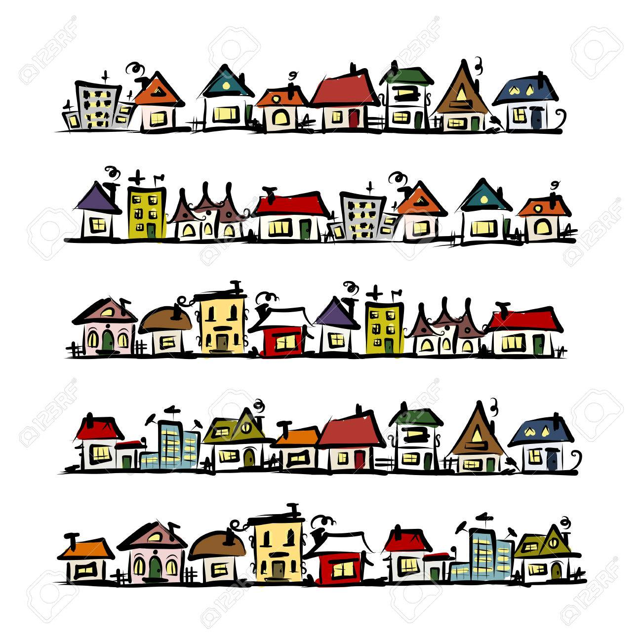 Set of houses, sketch for your design Stock Vector - 39693811