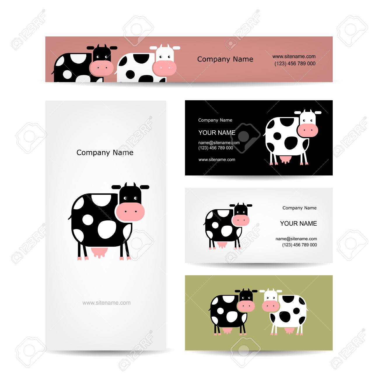 Business Cards Design With Funny Cow Royalty Free Cliparts, Vectors ...