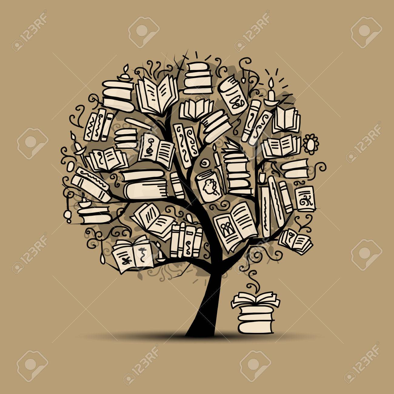 Book tree, sketch for your design. Vector illustration Stock Vector - 43266216