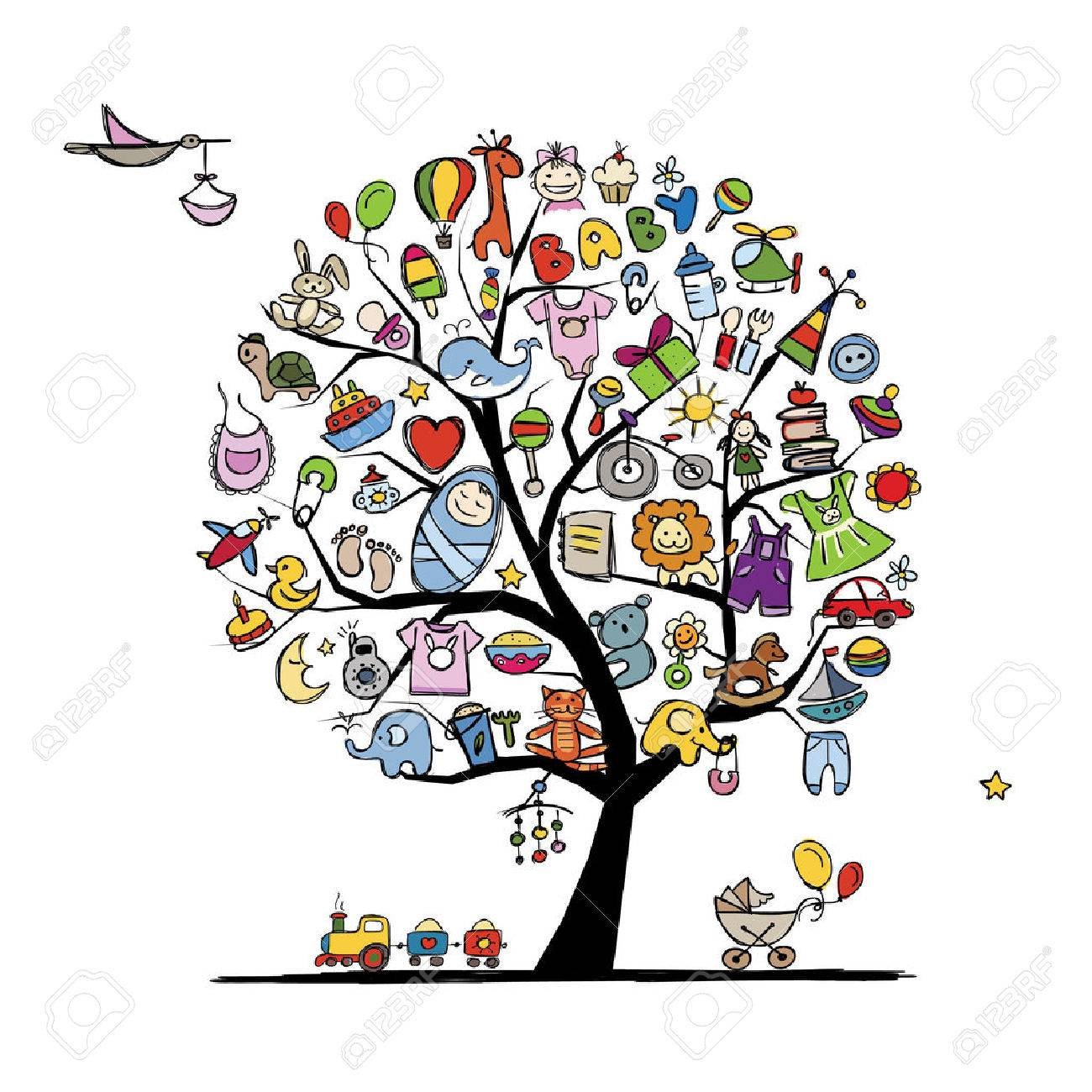 Art tree with baby toys for your design. Vector illustration Stock Vector - 43266218