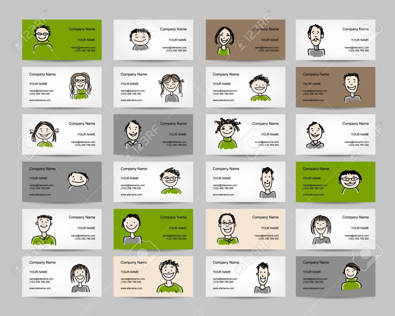 Business Cards With People Icons, Sketch For Your Design. Vector ...