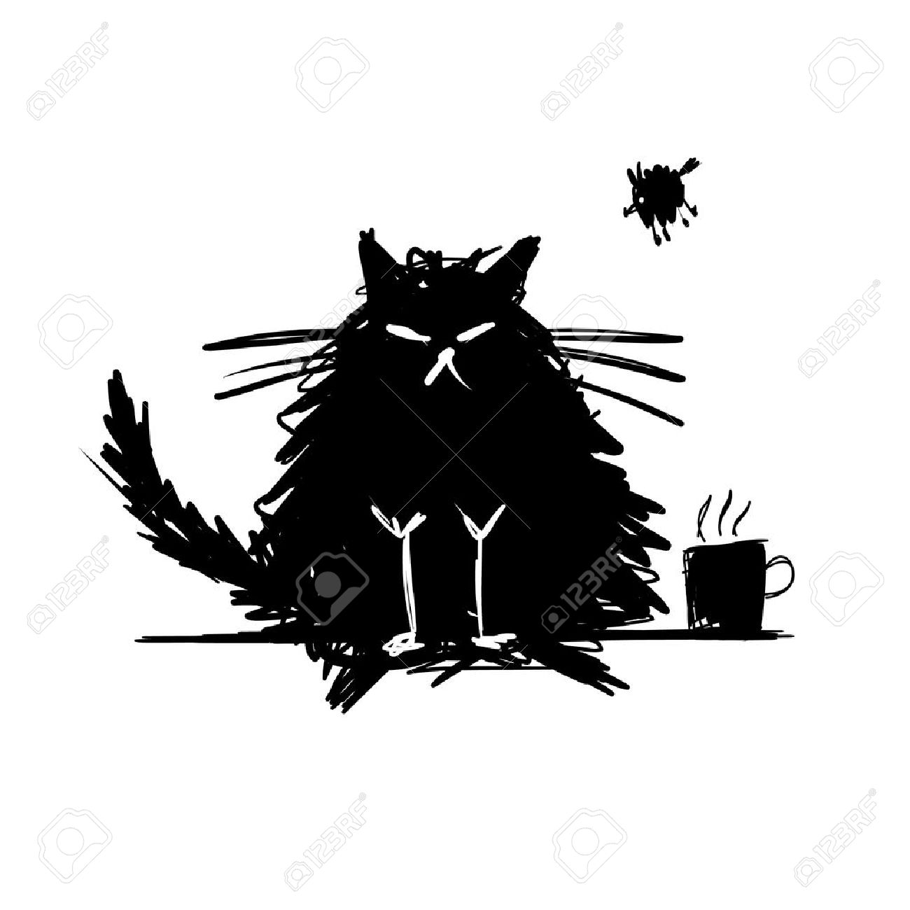 Funny cat black silhouette. Sketch for your design. Vector illustration Foto de archivo - 44222941