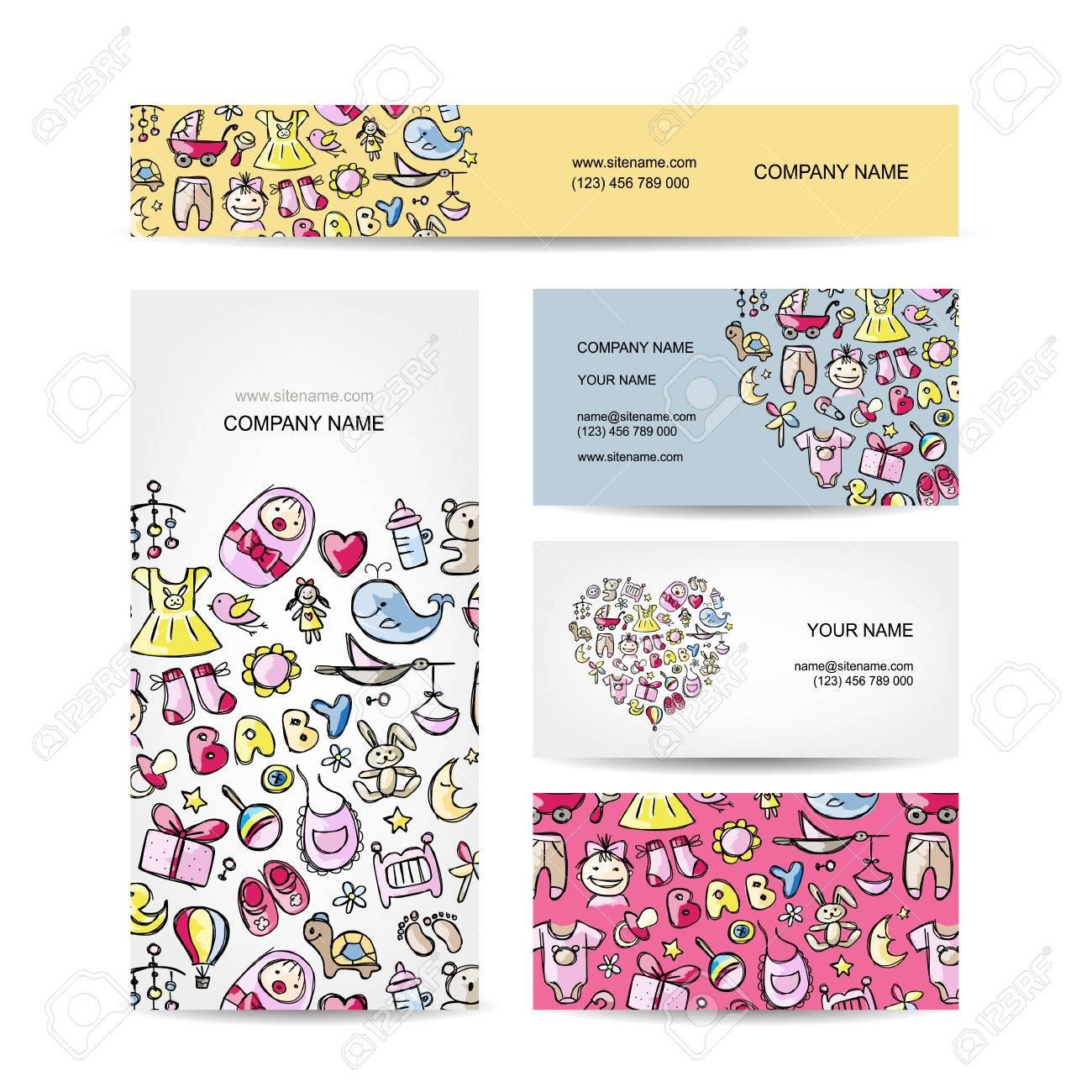 Business Cards Design, Baby Toys. Vector Illustration Royalty Free ...