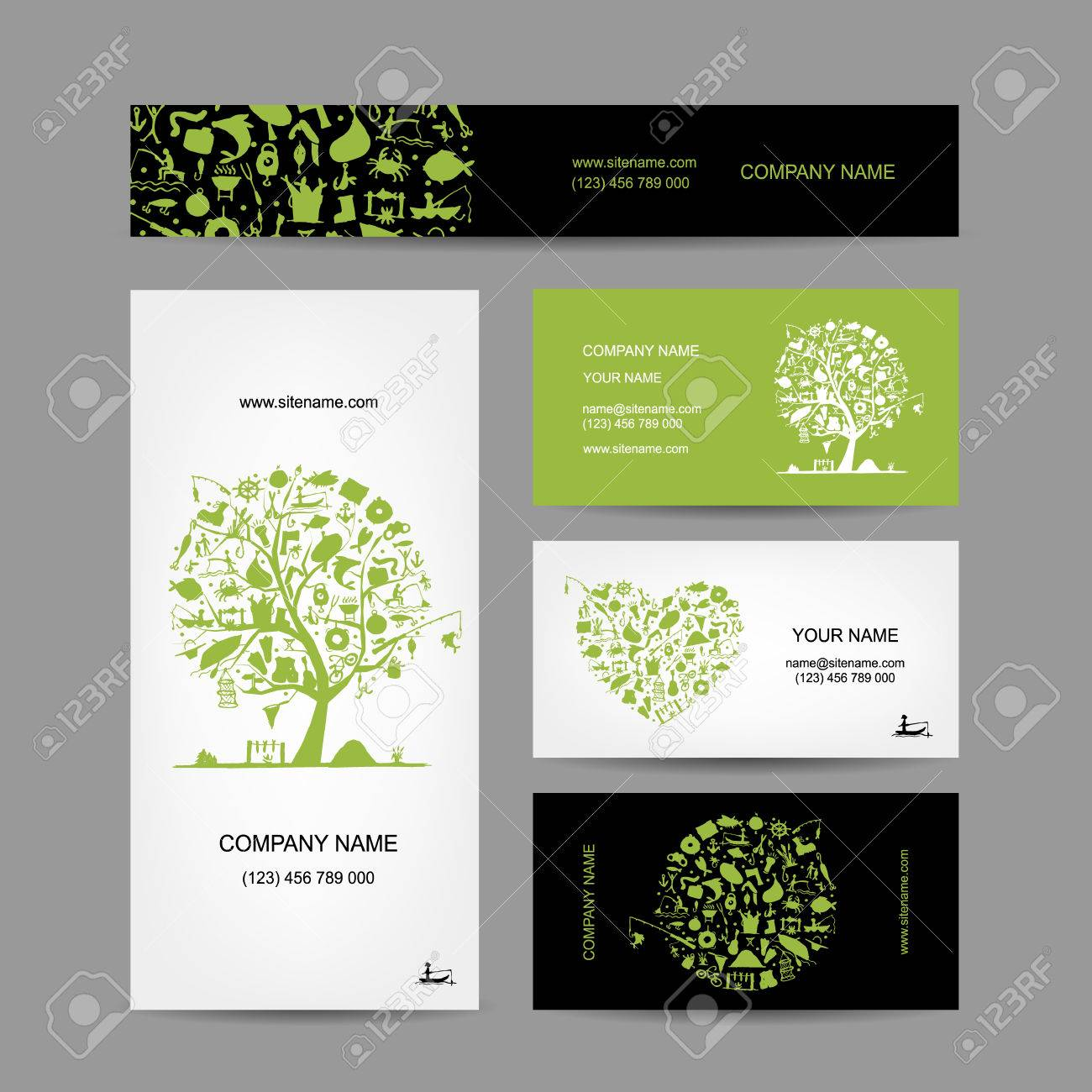 Fishing, Business Cards Set For Your Design. Vector Illustration ...