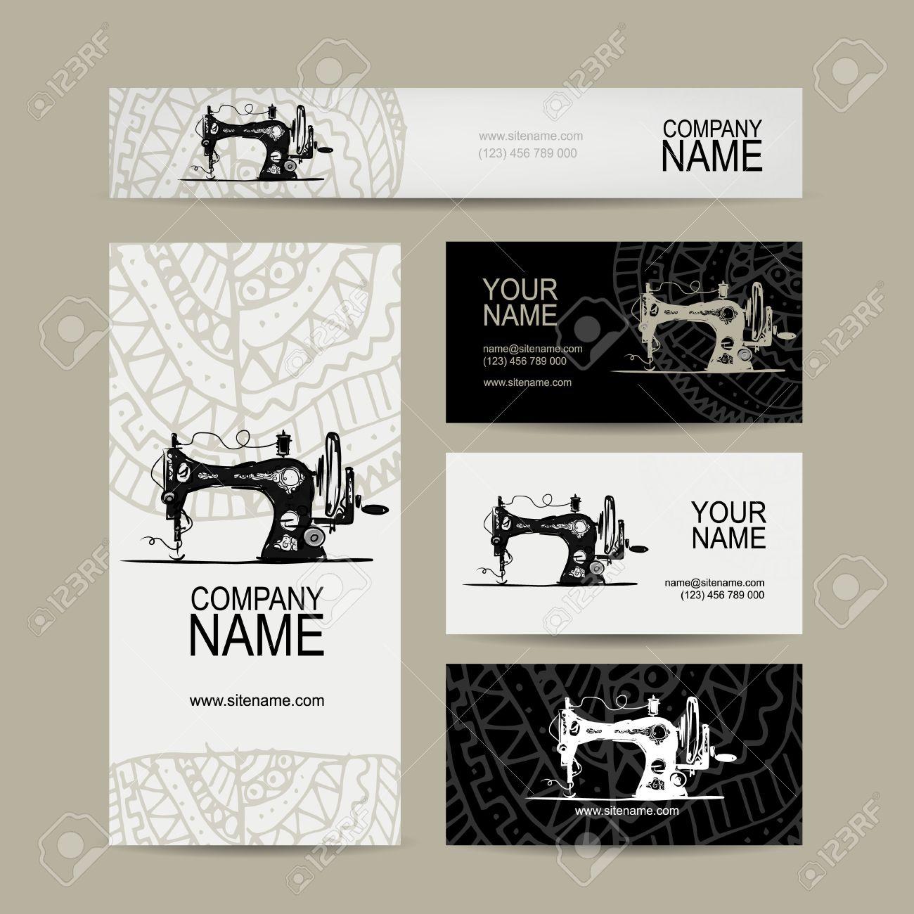 Business Cards Design, Sewing Maschine Sketch, Vector Illustration ...