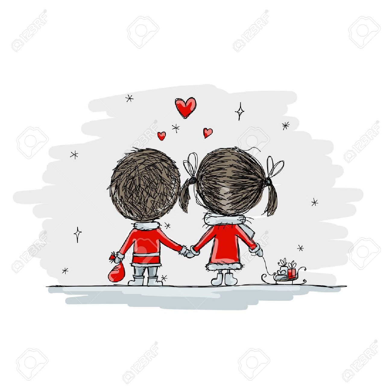 Couple in love together, christmas illustration for your design, vector Stock Vector - 45592569