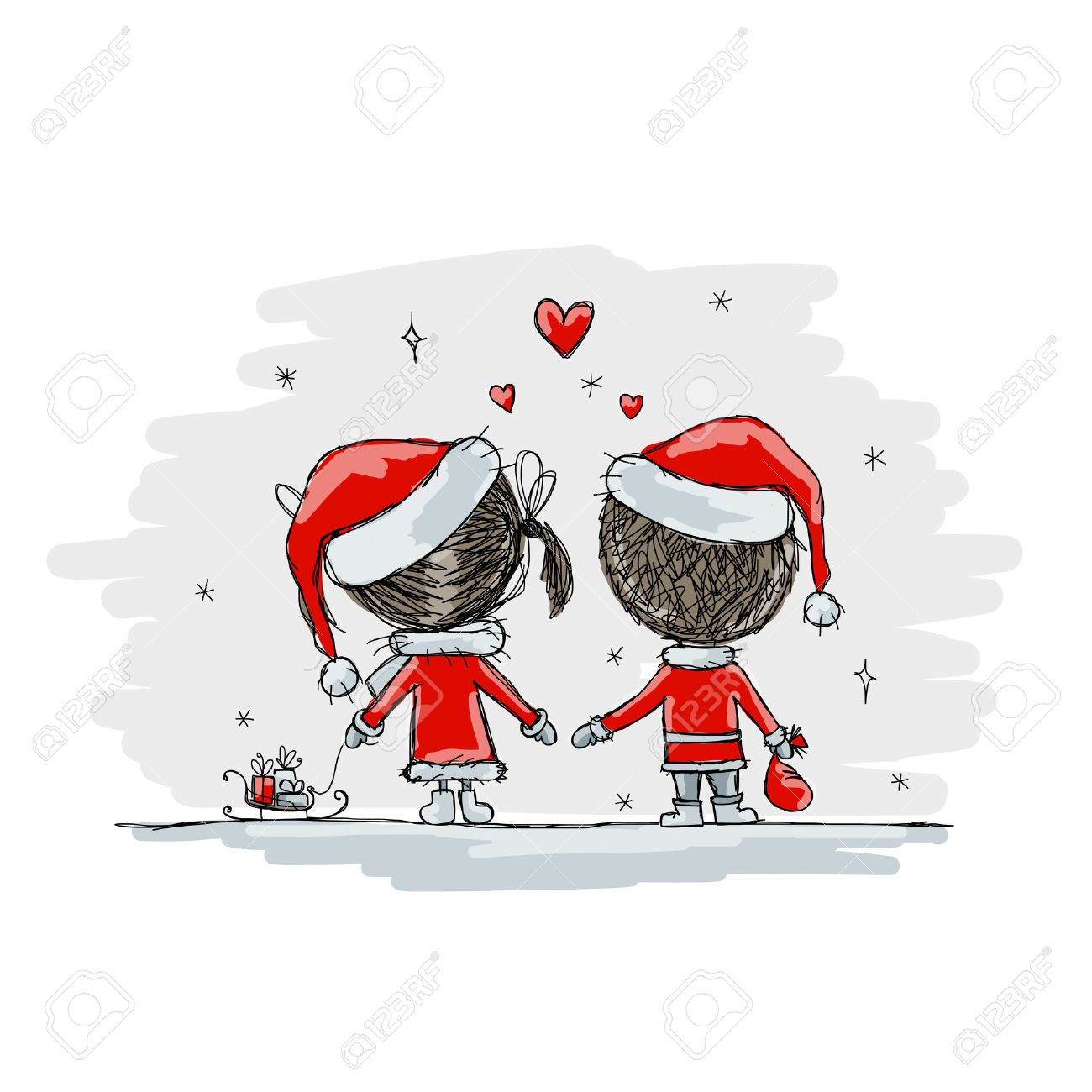 Couple in love together, christmas illustration for your design, vector Stock Vector - 45592579