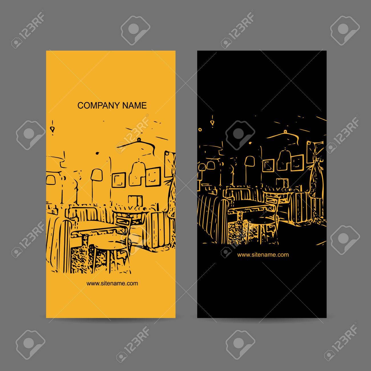 Silhouette Abstraite Du Cafe Interieur Conception De Carte