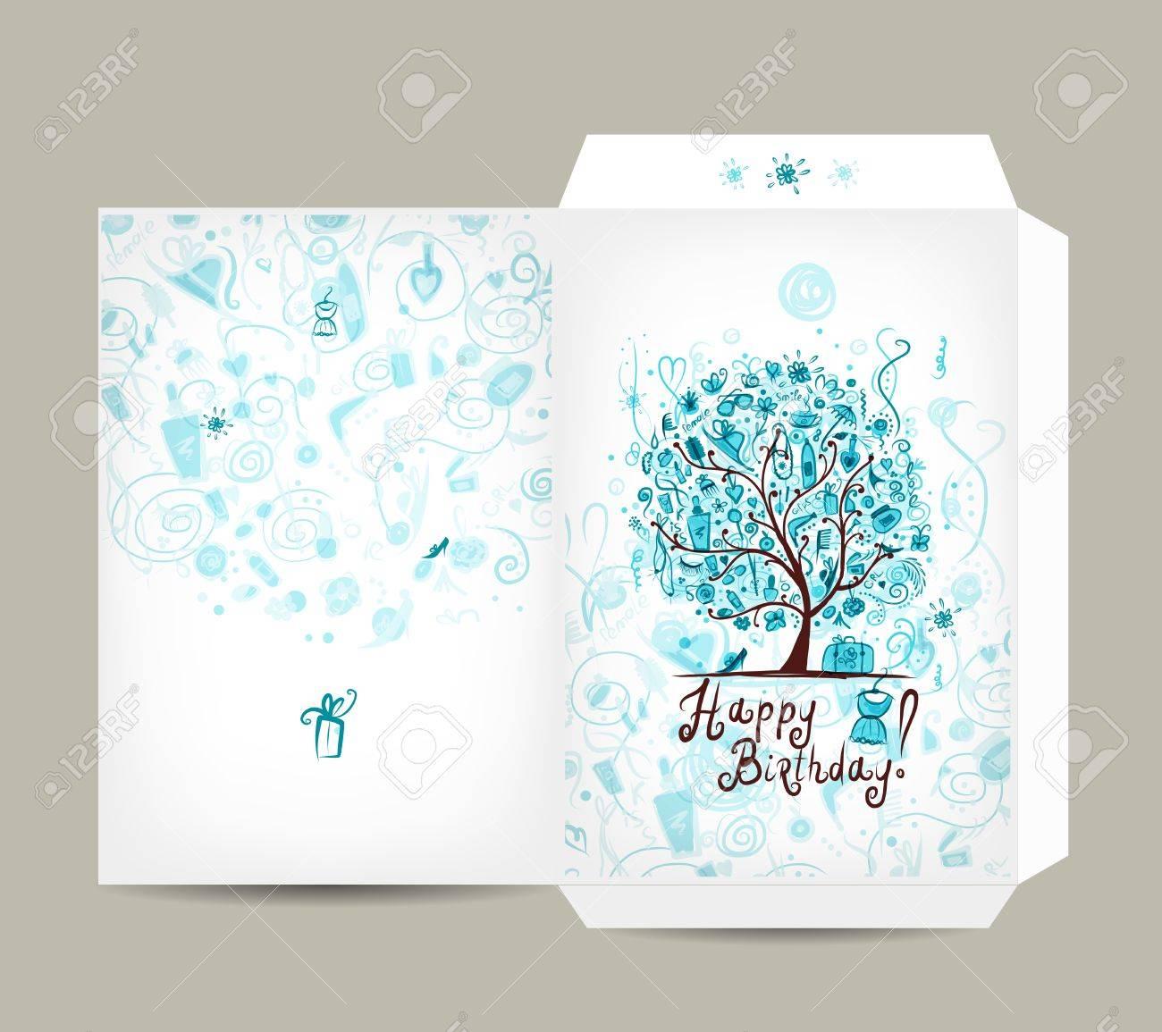 greeting envelope design female birthday tree vector illustration