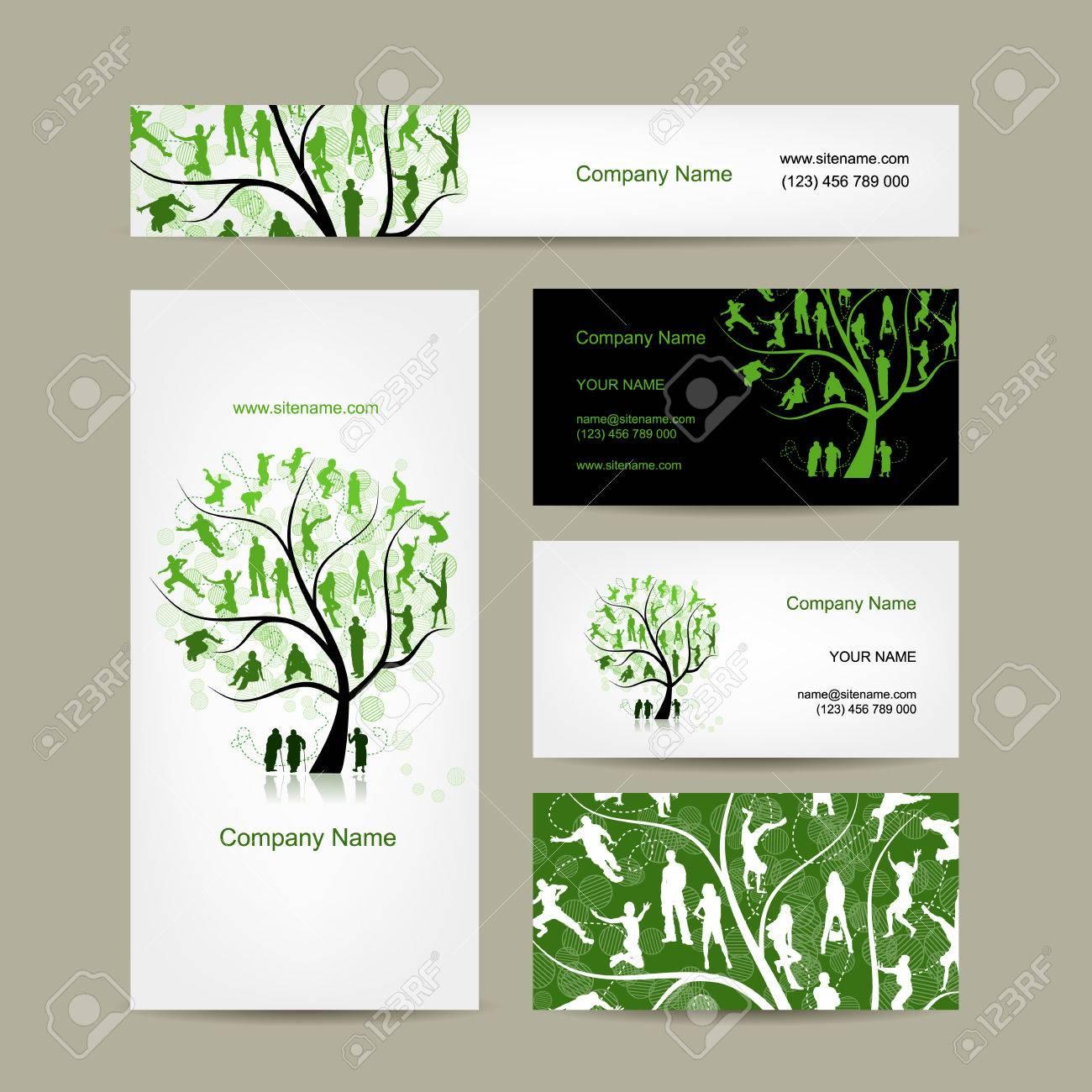 Cartes De Visite Conception Arbre Gnalogique Vector Illustration Banque Dimages