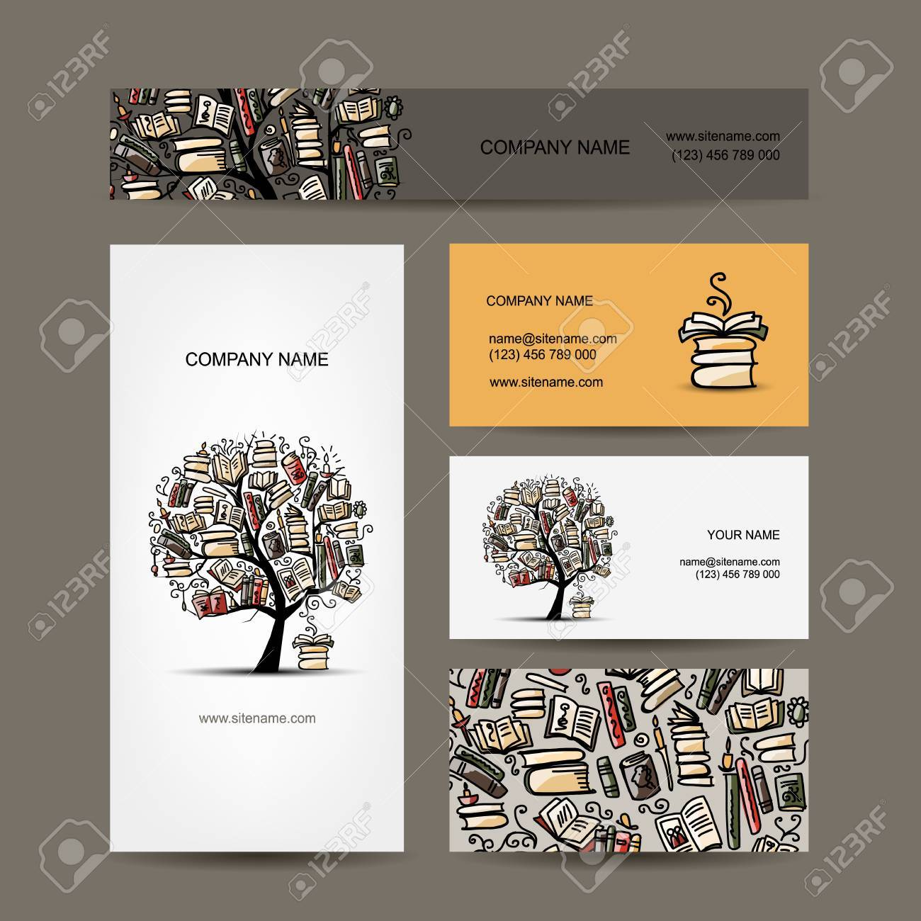 Business Cards Design With Book Tree. Vector Illustration Royalty ...