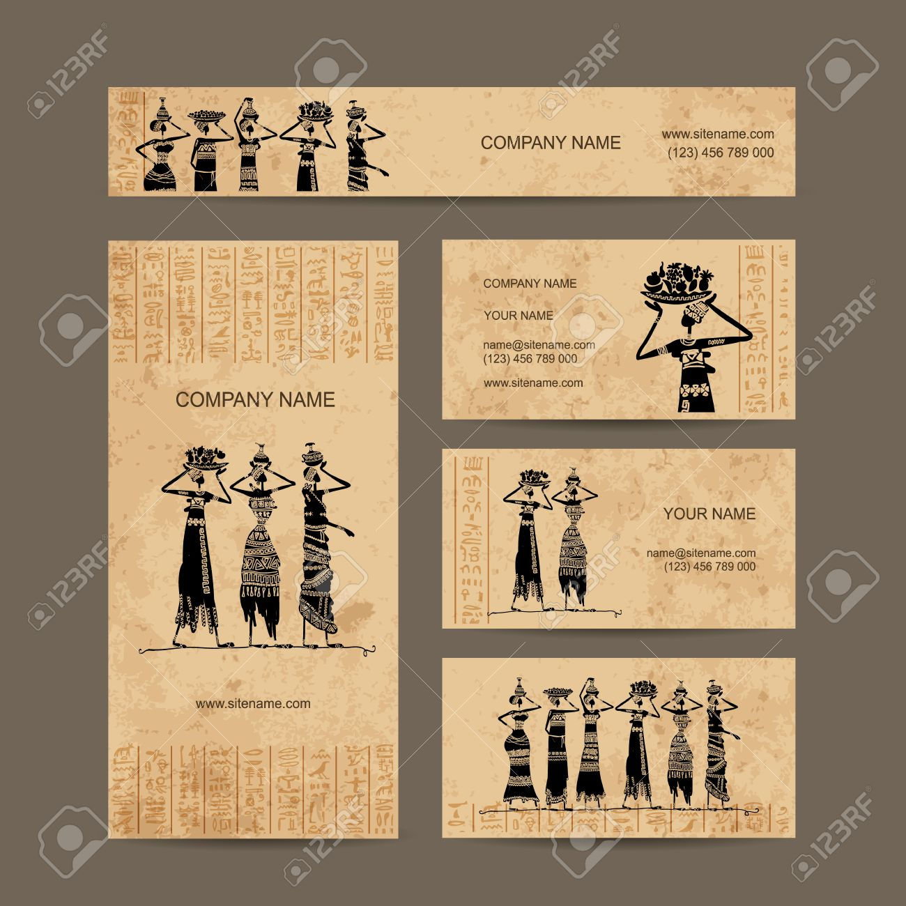 Sketch Of Egypt Women With Jugs. Business Cards Design, Vector ...