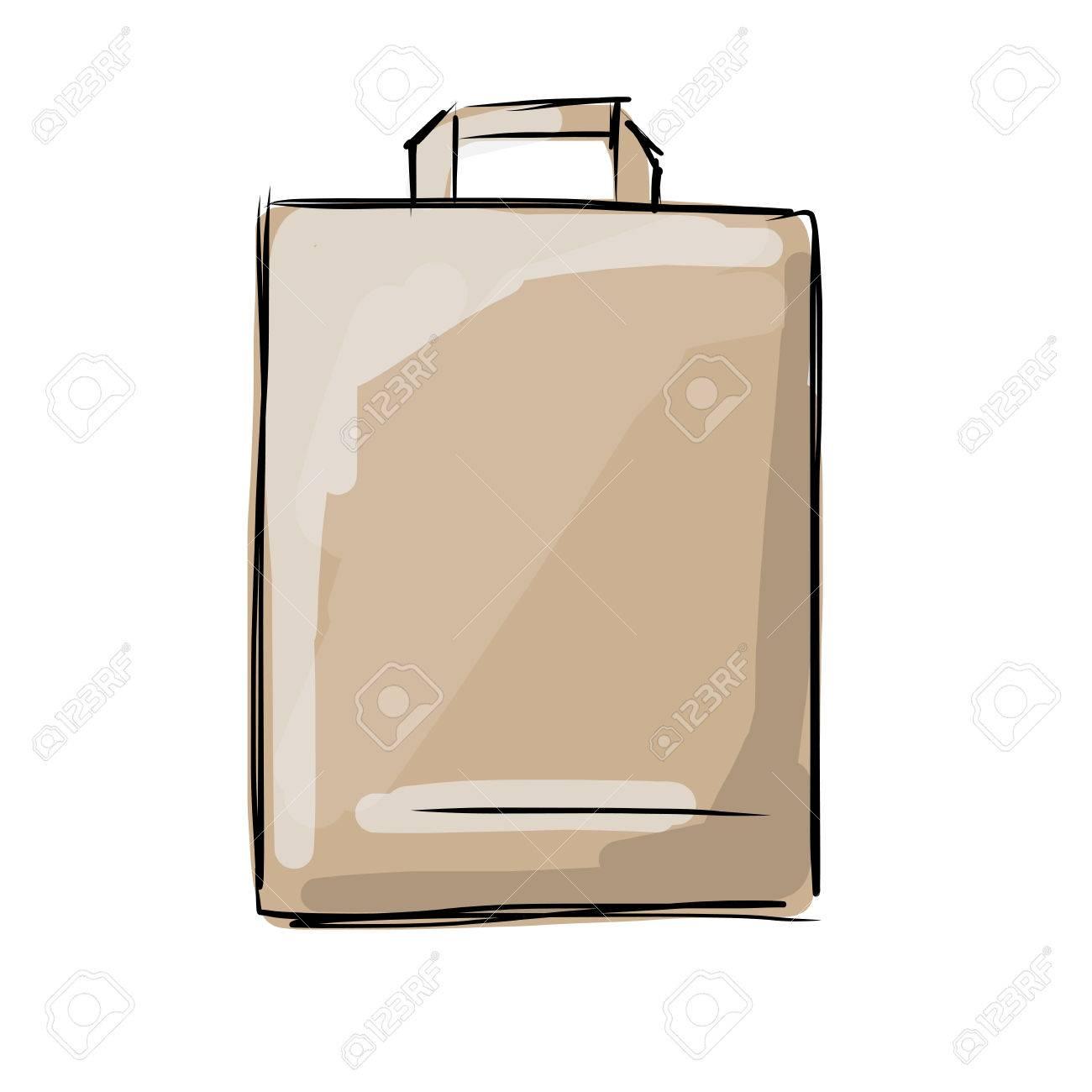 Paper bag sketch - Shopping Paper Bag Sketch For Your Design Vector Illustration Stock Vector 49344315