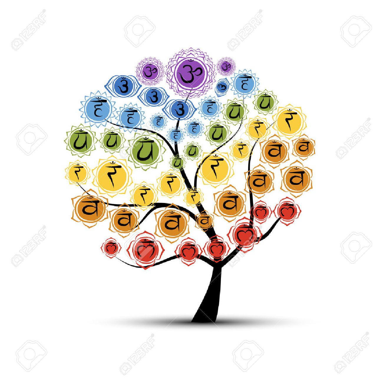 Yoga tree with chakras, sketch foy your design. Vector illustration Stock Vector - 49644050