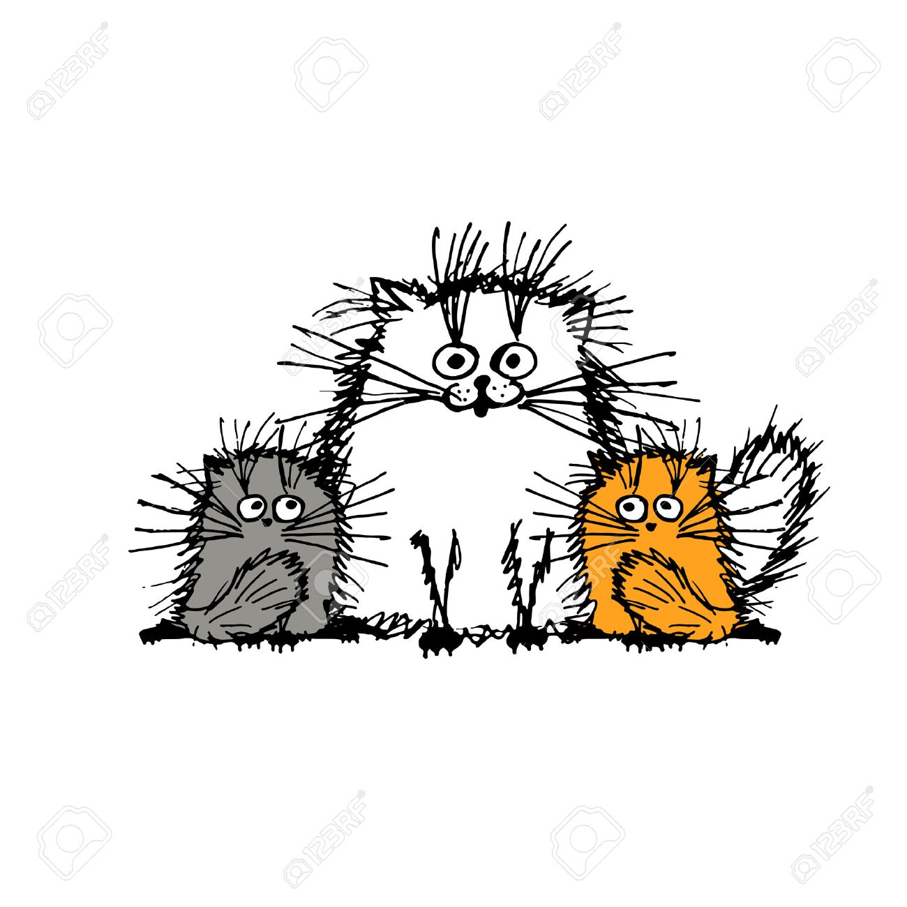 Fluffy cats family, sketch for your design. Vector illustration Stock Vector - 51823975