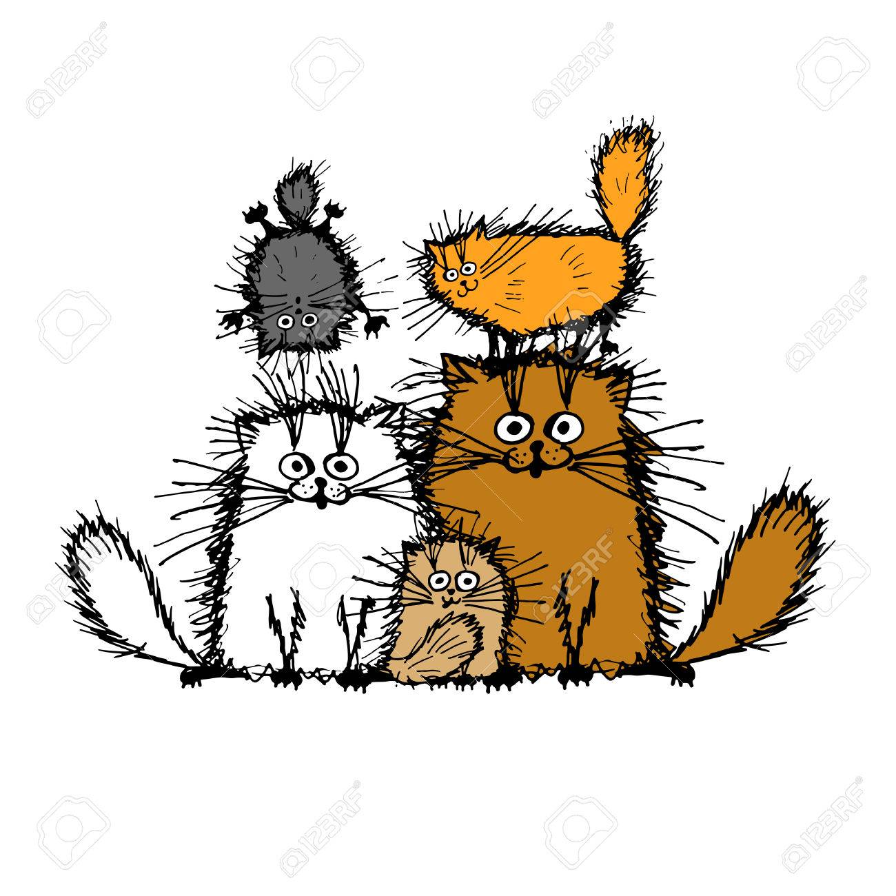 Fluffy cats family, sketch for your design. Vector illustration Foto de archivo - 51825225