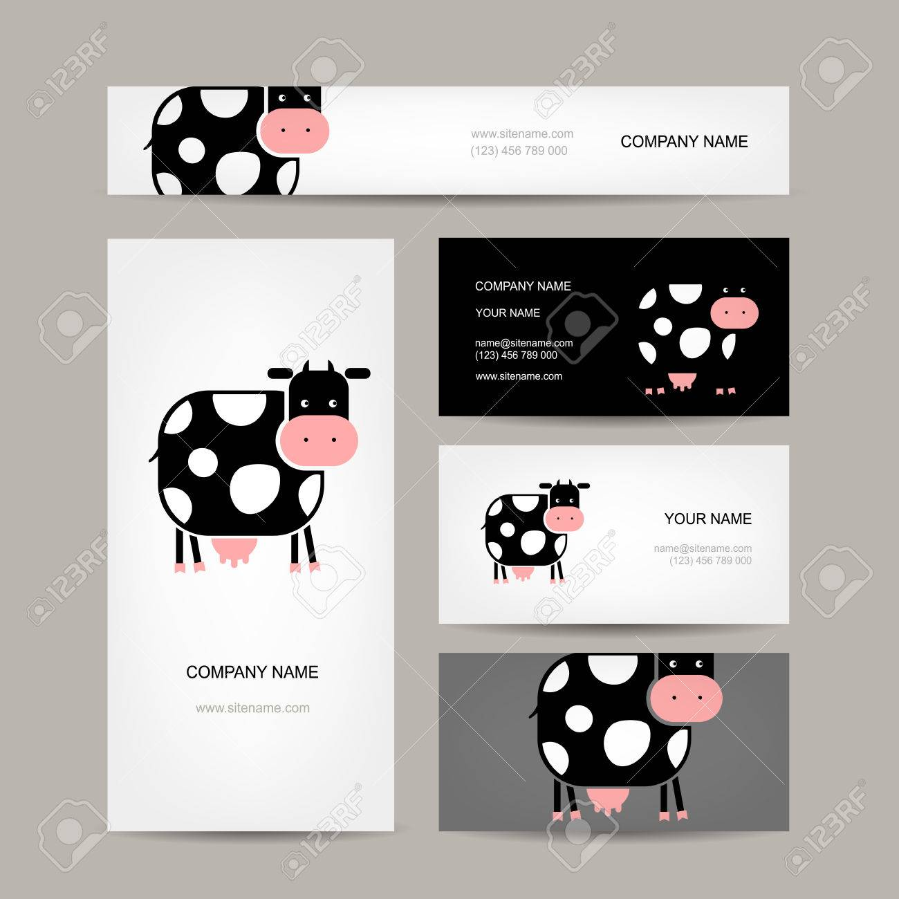 Business Cards Design With Funny Cow. Vector Illustration Royalty ...