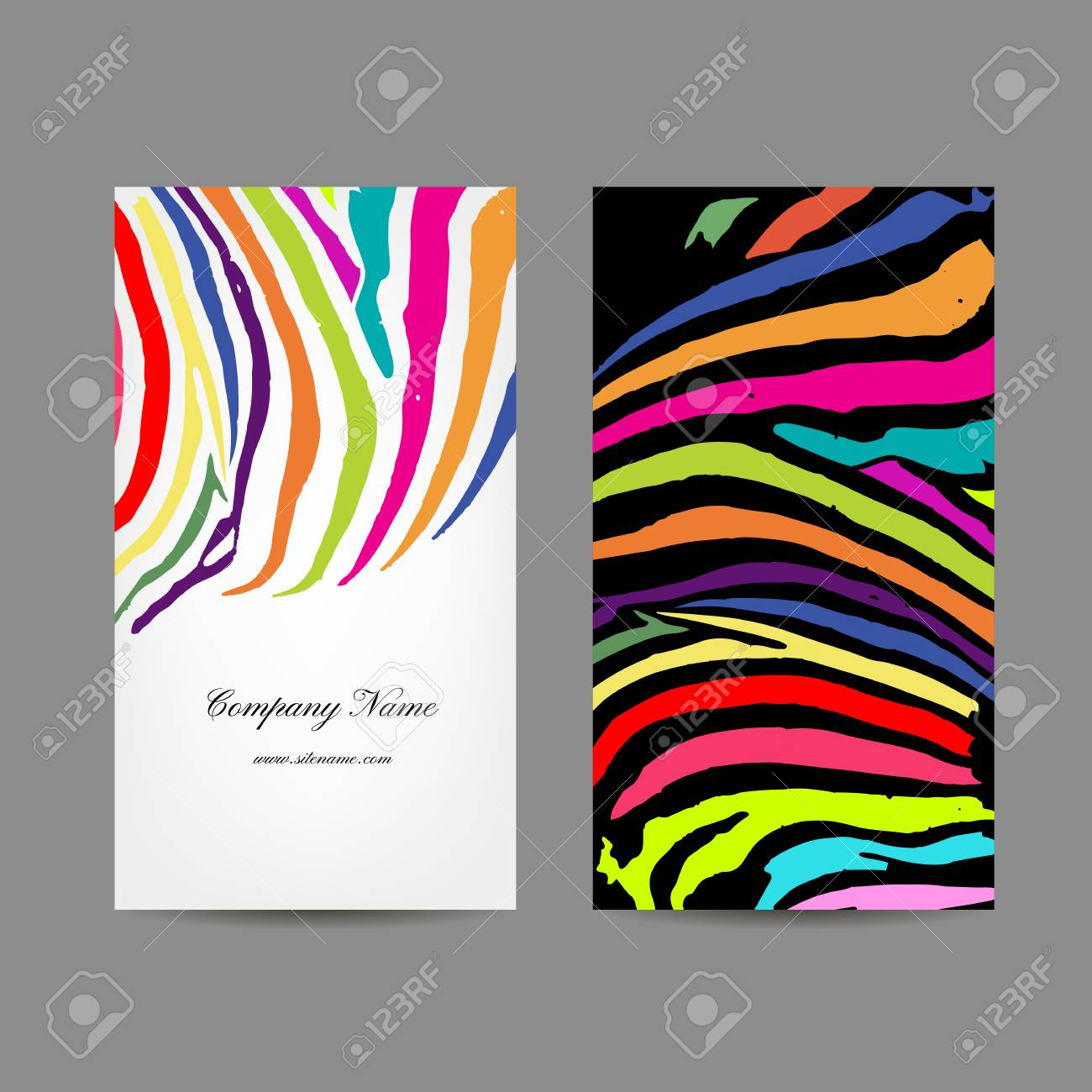 Business Card, Colorful Zebra Print Design, Vector Illustration ...