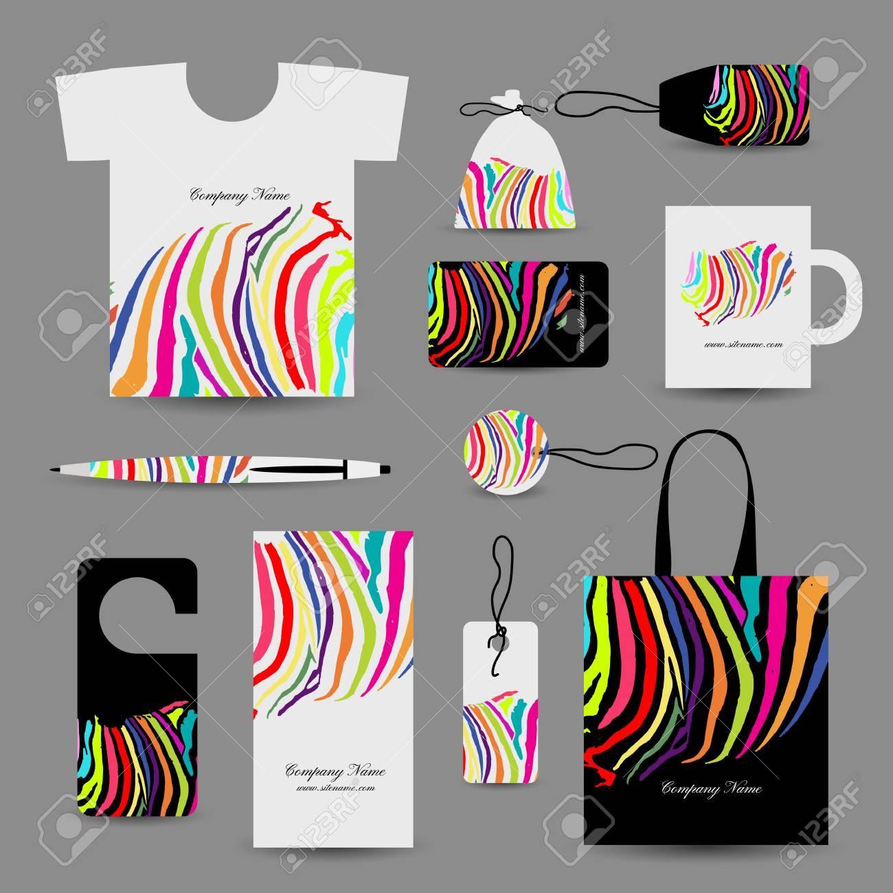 Corporate Business Cards, Colorful Zebra Print Design. Vector ...