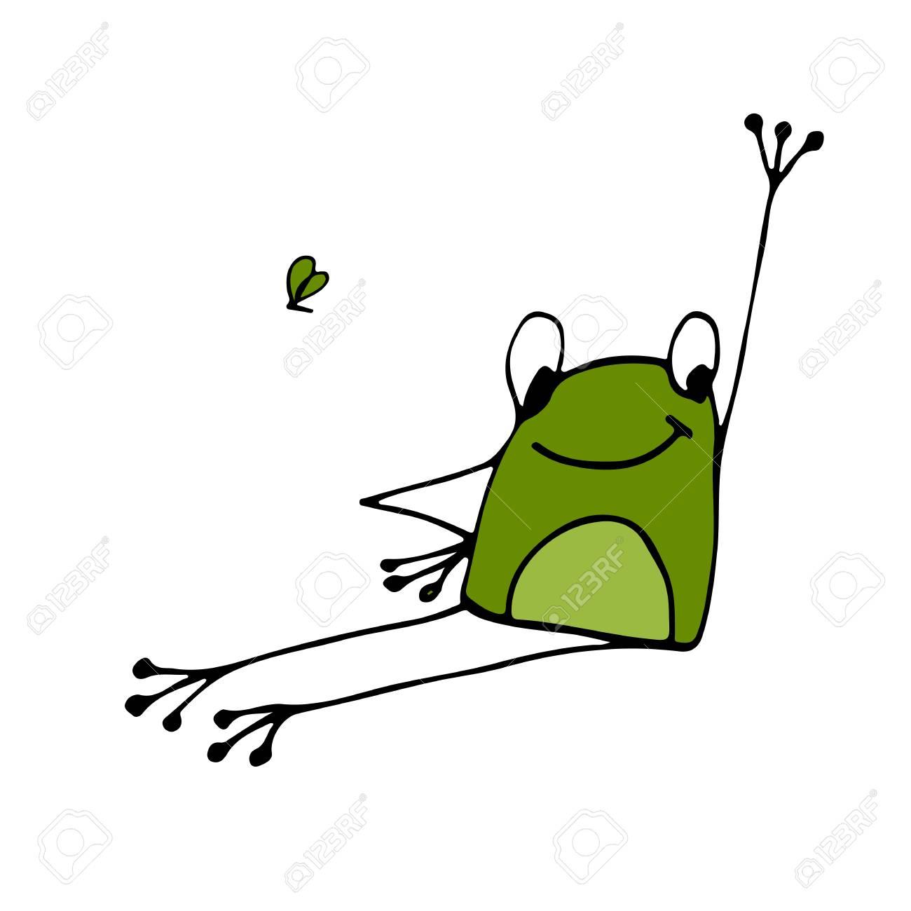 Lustige Yoga Frosch Skizze Fur Ihr Design Vektor Illustration