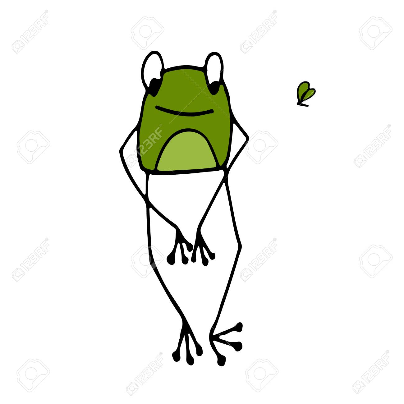 funny frog sketch for your design vector illustration royalty free rh 123rf com Frog Prince Cute Frogs
