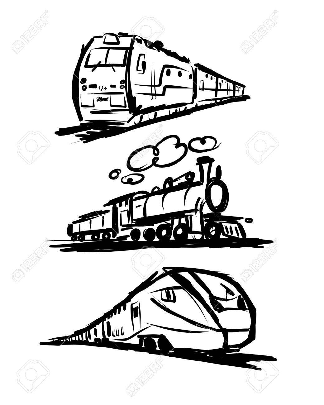 Speed train, sketch for your design. Vector illustration - 56543936