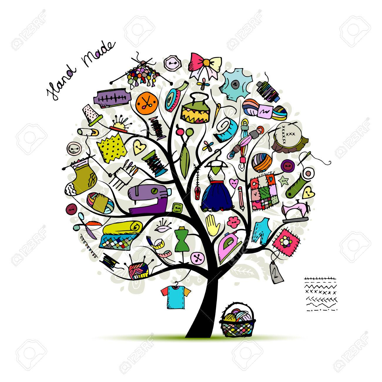 Sewing tree, sketch for your design. Vector illustration - 59100785