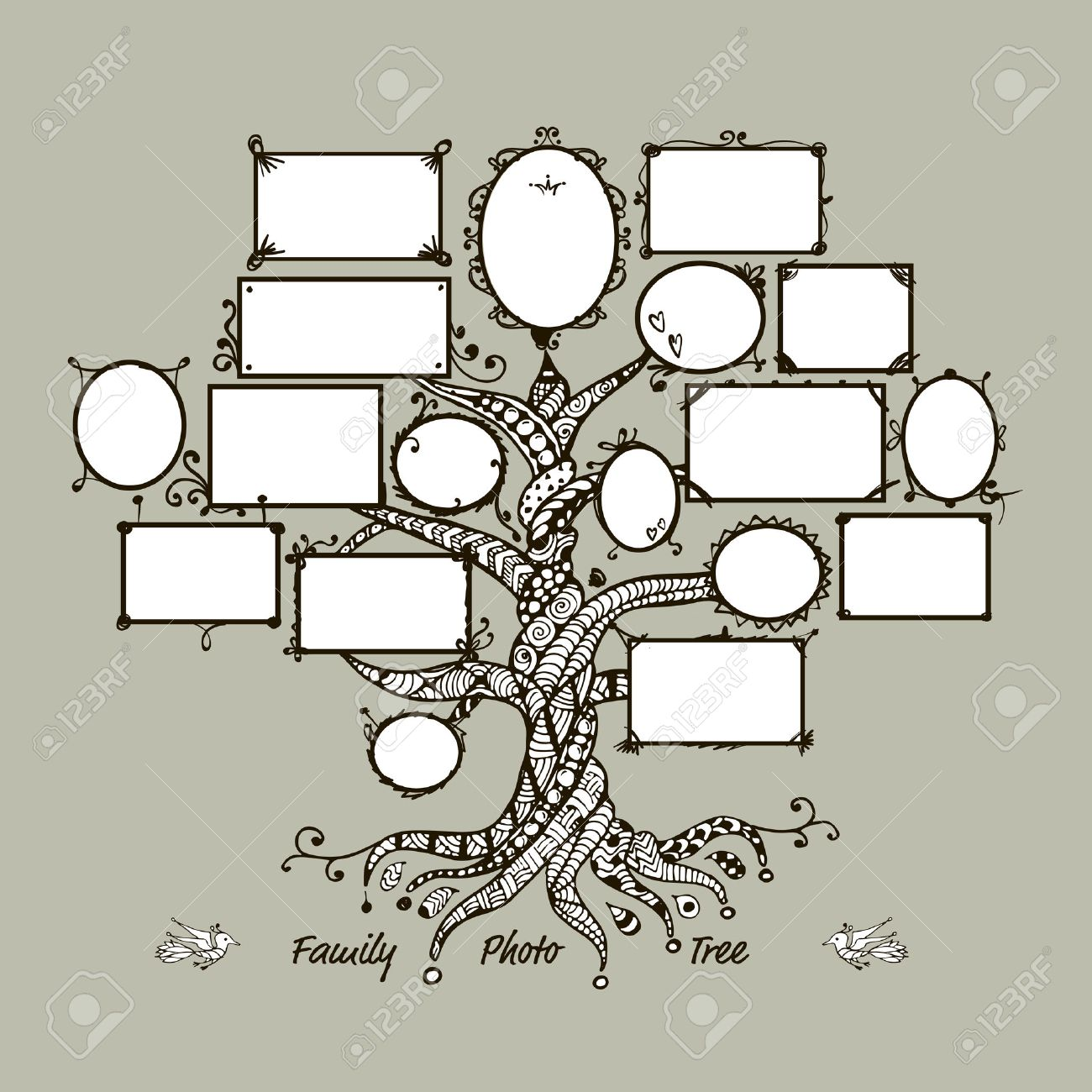 Family Tree Template With Picture Frames. Insert Your Photos ...