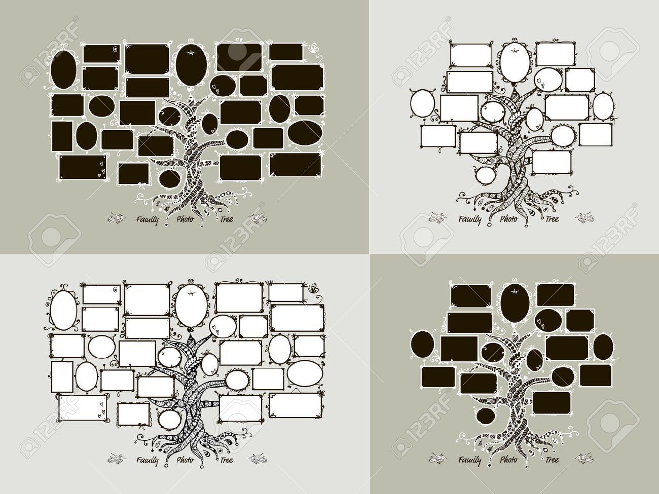 Plantilla árbol Genealógico Con Marcos De Cuadros. Insertar Las ...