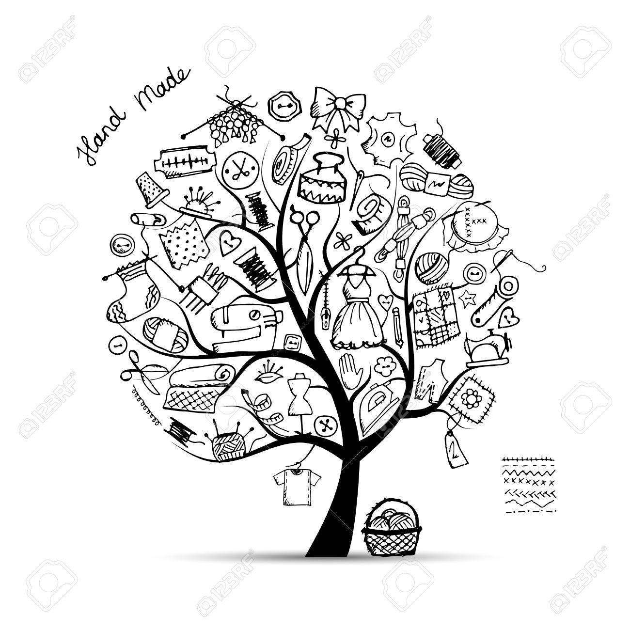 Sewing tree, sketch for your design. Vector illustration Stock Vector - 60762634