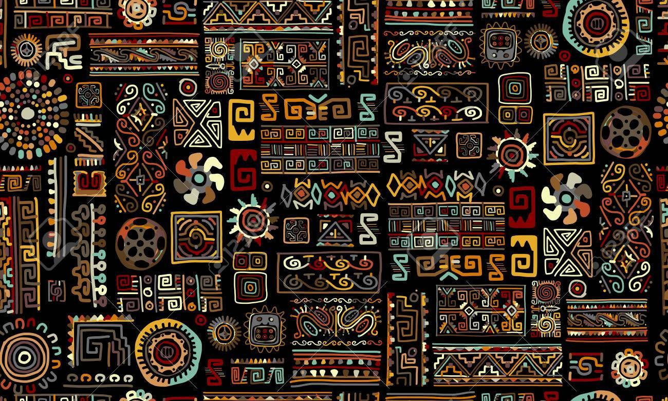 Ethnic handmade ornament, seamless pattern, vector illustration - 60762674