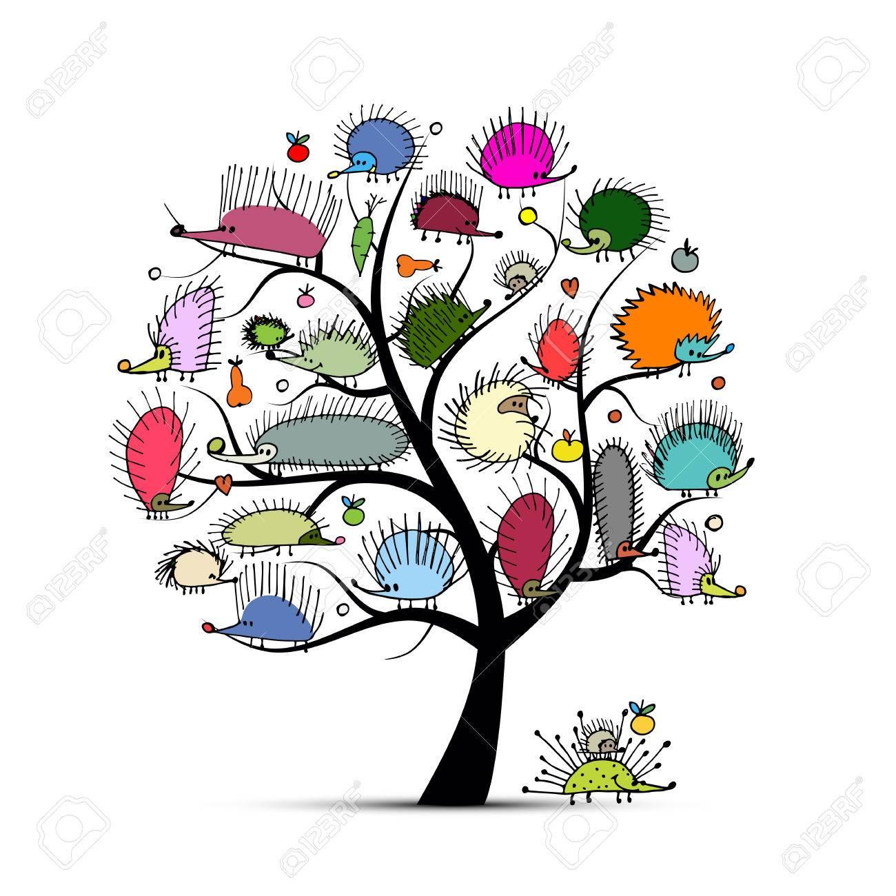 Art tree with funny hedgehog, sketch for your design. illustration - 63269557