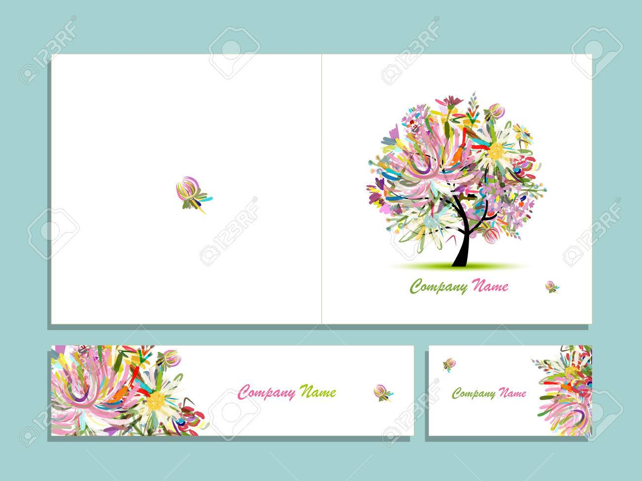 Business Card Collection, Abstract Floral Tree Design. Illustration ...