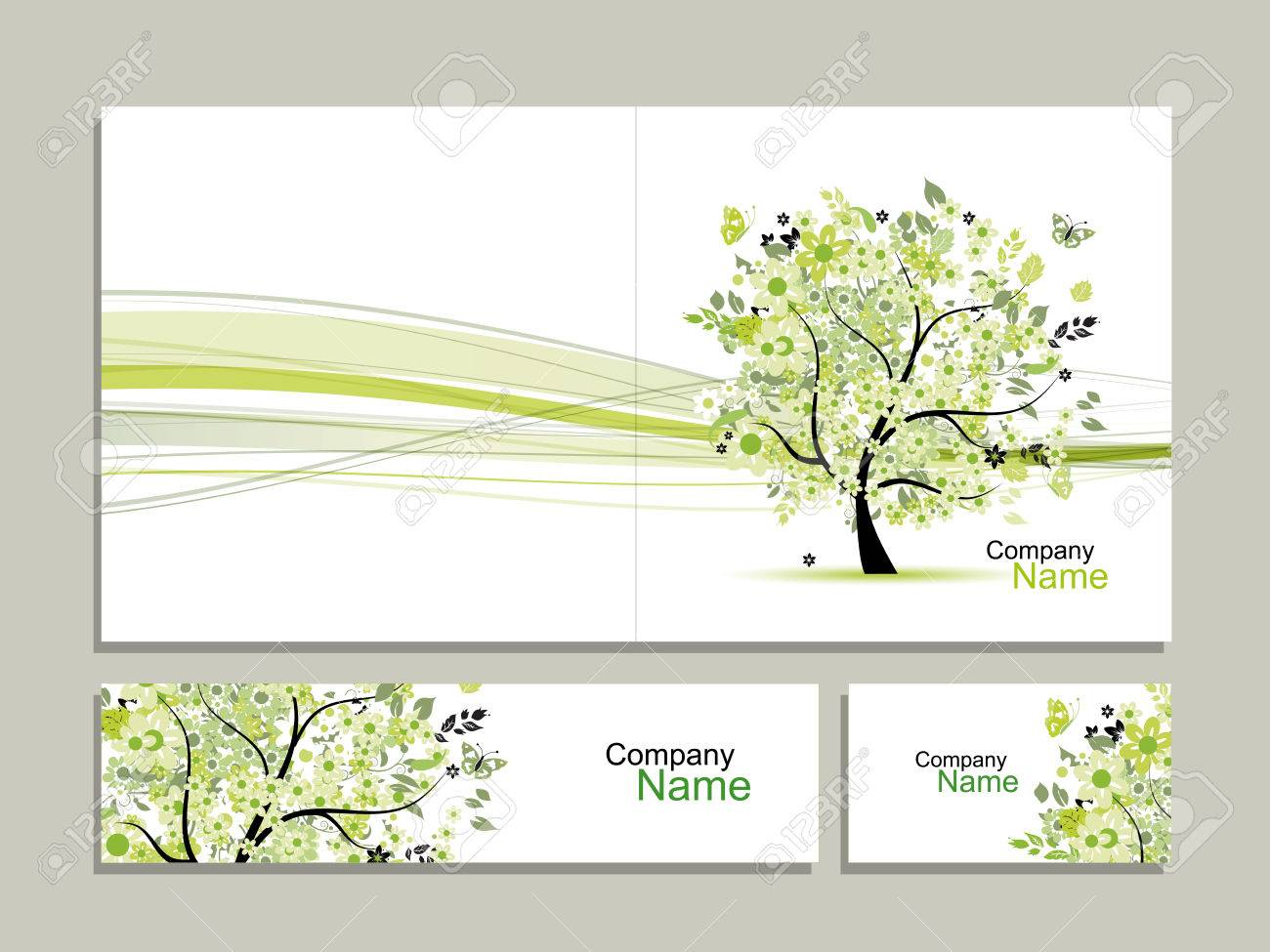 Business Card Collection, Abstract Floral Tree Design ...