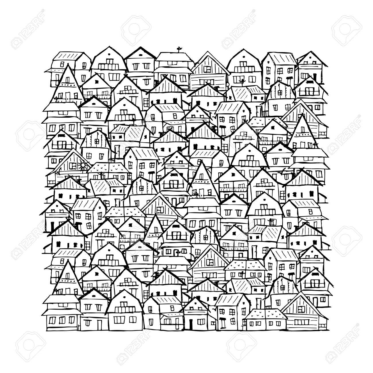Resumen De Fondo Del Paisaje Urbano, Boceto De Su Diseño ...