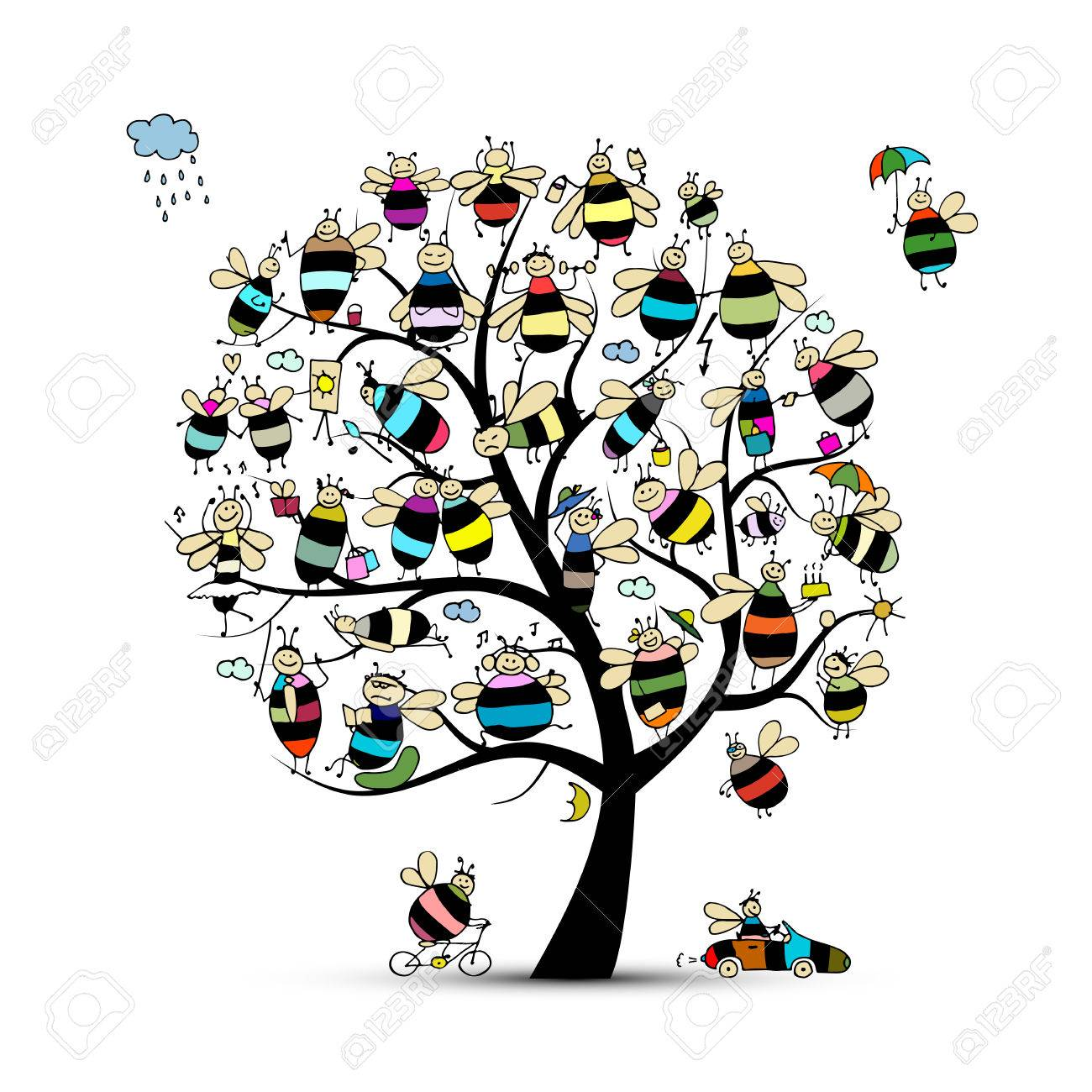 Art Tree With Family Bees Sketch For Your Design Vector Illustration