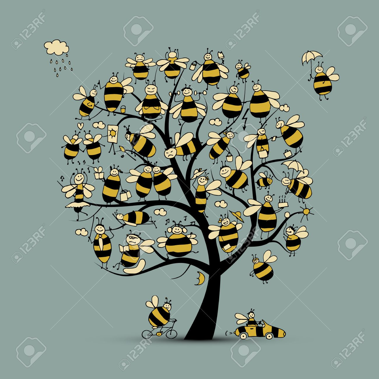 Art tree with family bees, sketch for your design. Vector illustration - 64821151