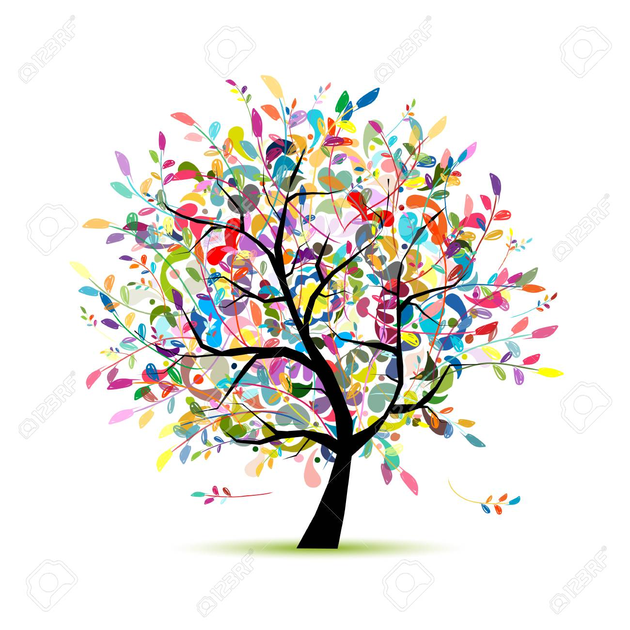 Colorful art tree for your design. Vector illustration - 64881825