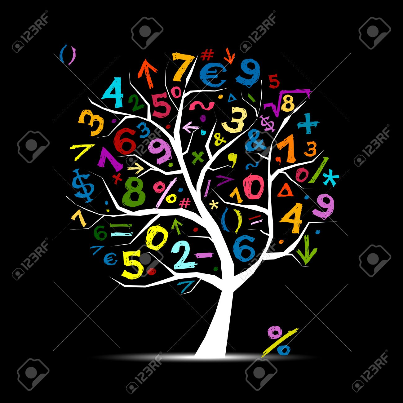 art tree with math symbols for your design royalty free cliparts