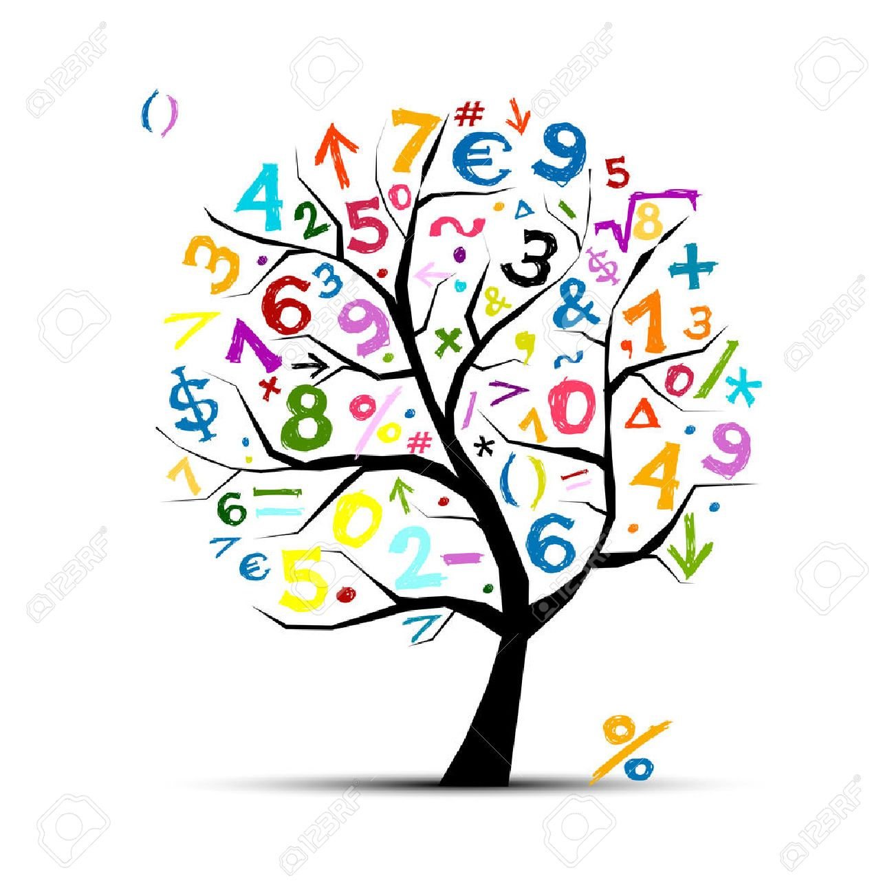 Art tree with math symbols for your design - 64888296