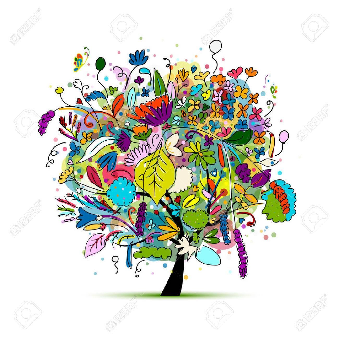 Floral tree for your design. illustration - 68350980