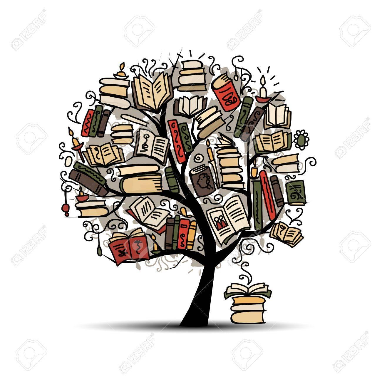 Book tree, sketch for your design. illustration - 68555696