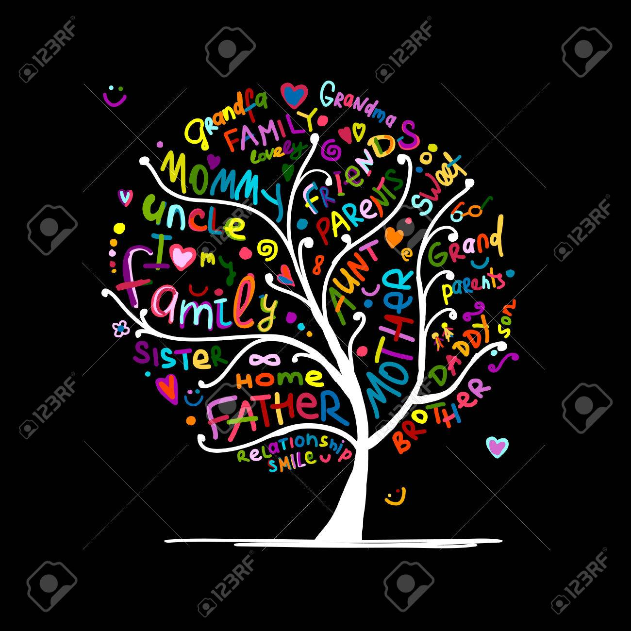 Family tree sketch for your design Stock Vector - 71191109